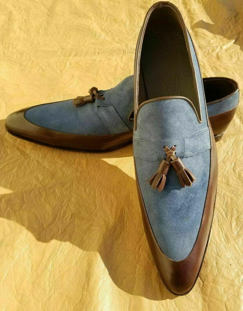 Handgefertigte Slipper aus Leder und Wildleder mit Quasten Schuhe