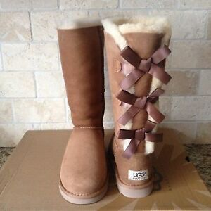 650d2bcffda Details about UGG Tall Triple Triplet Bailey Bow Chestnut Suede Boots Size  2 Youth Girls Kids
