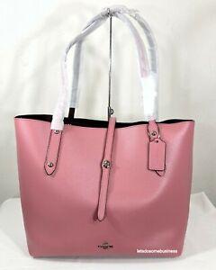 Coach-Market-Tote-Refined-Leather-12077-Shoulder-Bag-Glitter-Rose-Oxblood-Pink