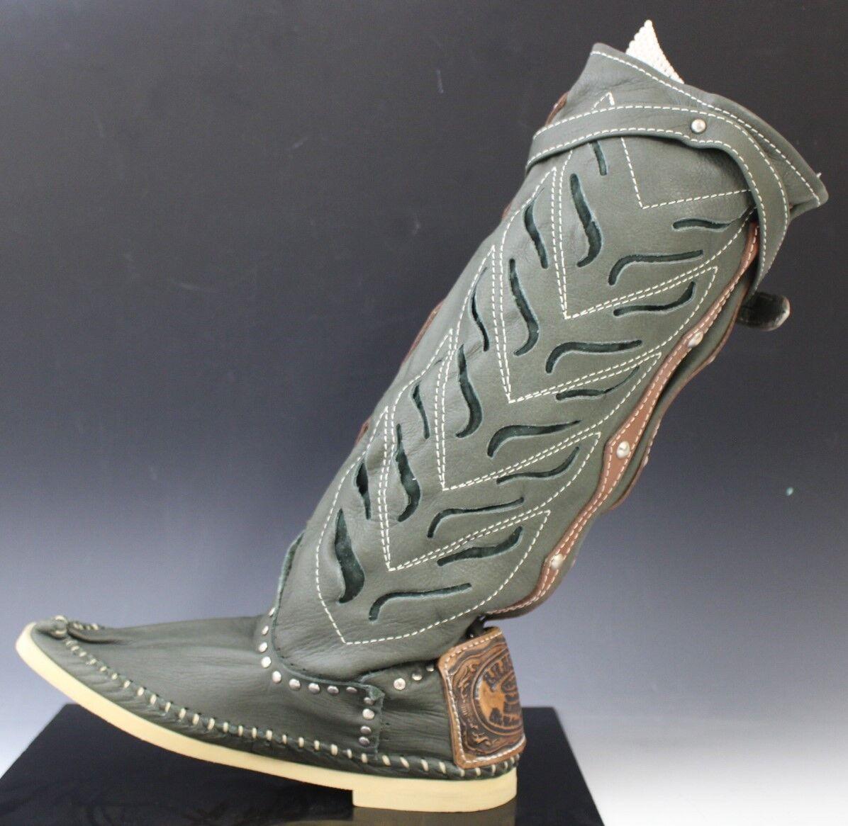 Estilo Vaquero Cuero Italiano Héctor Mocasín botas Zapatos TRAFORATO verde EE. UU. 9