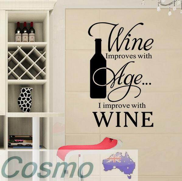 WALL STICKER WOMEN KITCHEN HOME Wine SHOP RESTAURANT Door Decals Vinyl Sticker