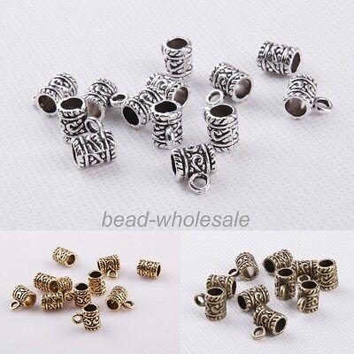 50pcs Lots Charm Retro Tibetan silver Big Hole Cylinder Connectors For Bracelet