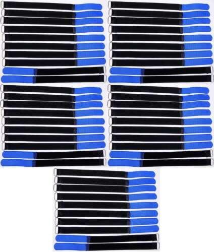 50 x Klettband Kabelbinder 30 cm x 20 mm blau Klettbänder Kabelklett Metallöse