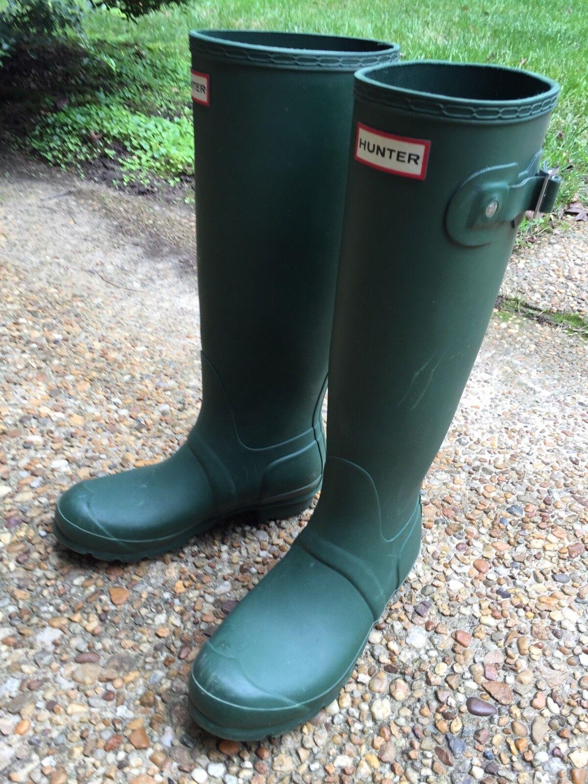 Hunter Womens Green Matte Rubber Rain BOOTS Original Tall 7
