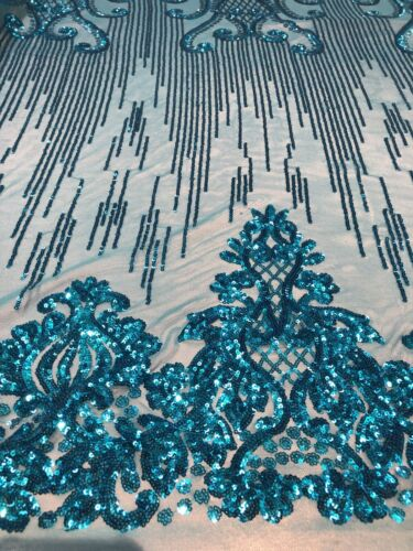 Turquoise Sequins Design 4 Way Stretch Sequin Fabric Mesh Prom-Gown By The Yard
