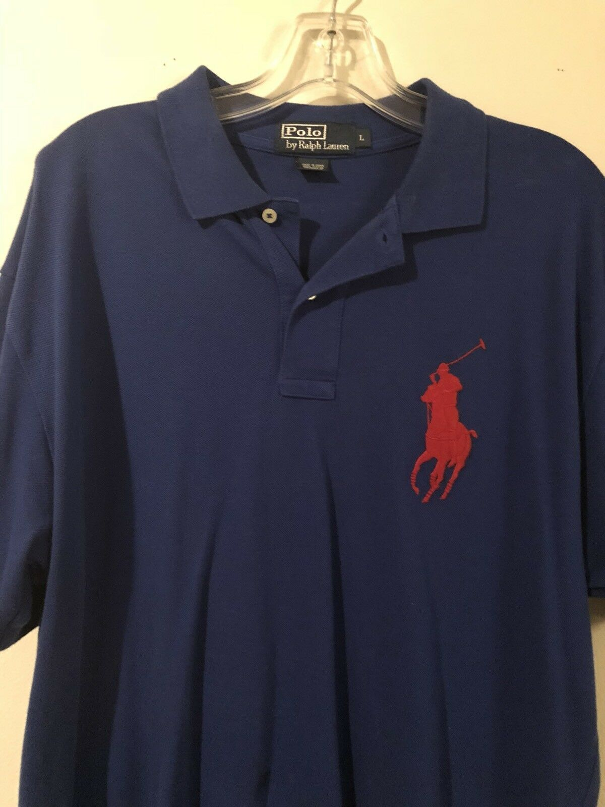 Polo Ralph Lauren Large Pony Polo Shirt bluee w  Large Red Pony L