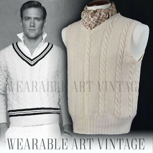 Details about SWEATER JUMPER CASHMERE VINTAGE RALPH LAUREN 20s 30s 40s  CRICKET BOATING GATSBY