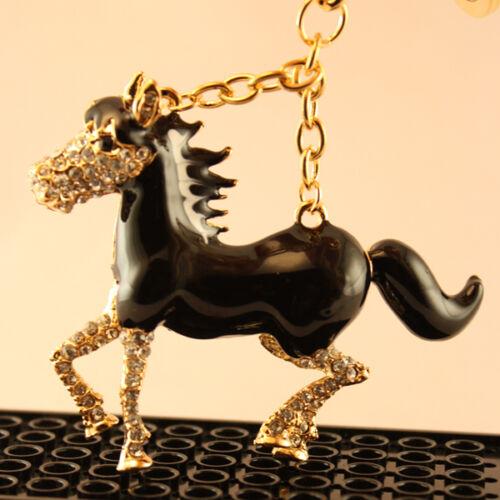 Black White Horse Pony Keychain Crystal Charm Cute Animal Gift 01022-3
