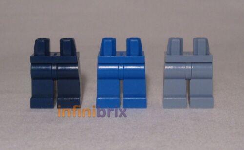 bleu foncé, bleu clair, sable bleu pour minifigs NEUF lot402 3x LEGO Plain Jambes