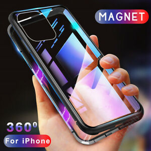 For-iPhone-11-Pro-Max-XS-XR-8-7-6S-Magnetic-Flip-Metal-Tempered-Glass-Case-Cover
