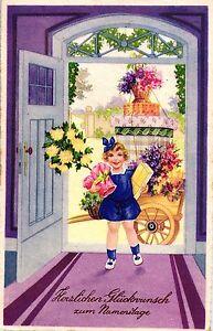 Namenstag, Mädchen, Blumen, Wagen, 1939 - Deutschland - Namenstag, Mädchen, Blumen, Wagen, 1939 - Deutschland