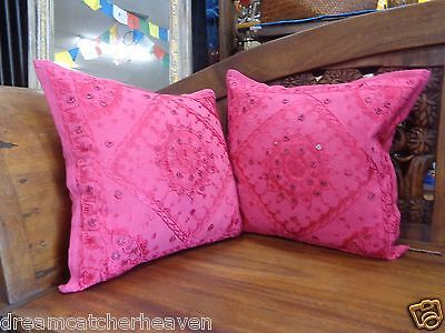 SWEET 1 X ETHNIC MIRRORED EMBROIDERED BOHO INDIAN CUSHION COVER 40X40CM RRP $16