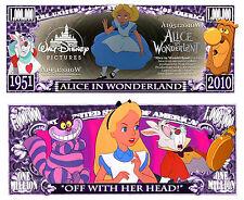ALICE AU PAYS DES MERVEILLES BILLET MILLION DOLLAR US! Collection dessin Disney
