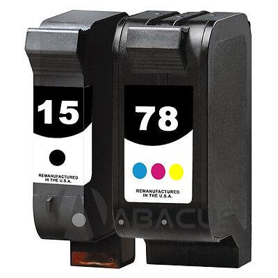 2pk Remanufactured Ink Jet Cartridges for HP 15/78 PSC 750 xi 950 950xi Printer