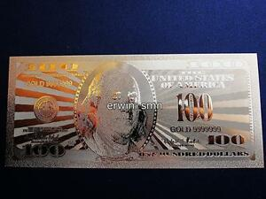 Details About Usa Seller Gold 9999999 Plated 24k Banknote 100 Dollar Bill W Pvc Frame