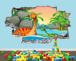 ADESIVI-Da-Parete-Dinosauro-Ragazzi-Ragazze-Carino-Vivaio-Decalcomania-In-Vinile-rotte-3D-art-room