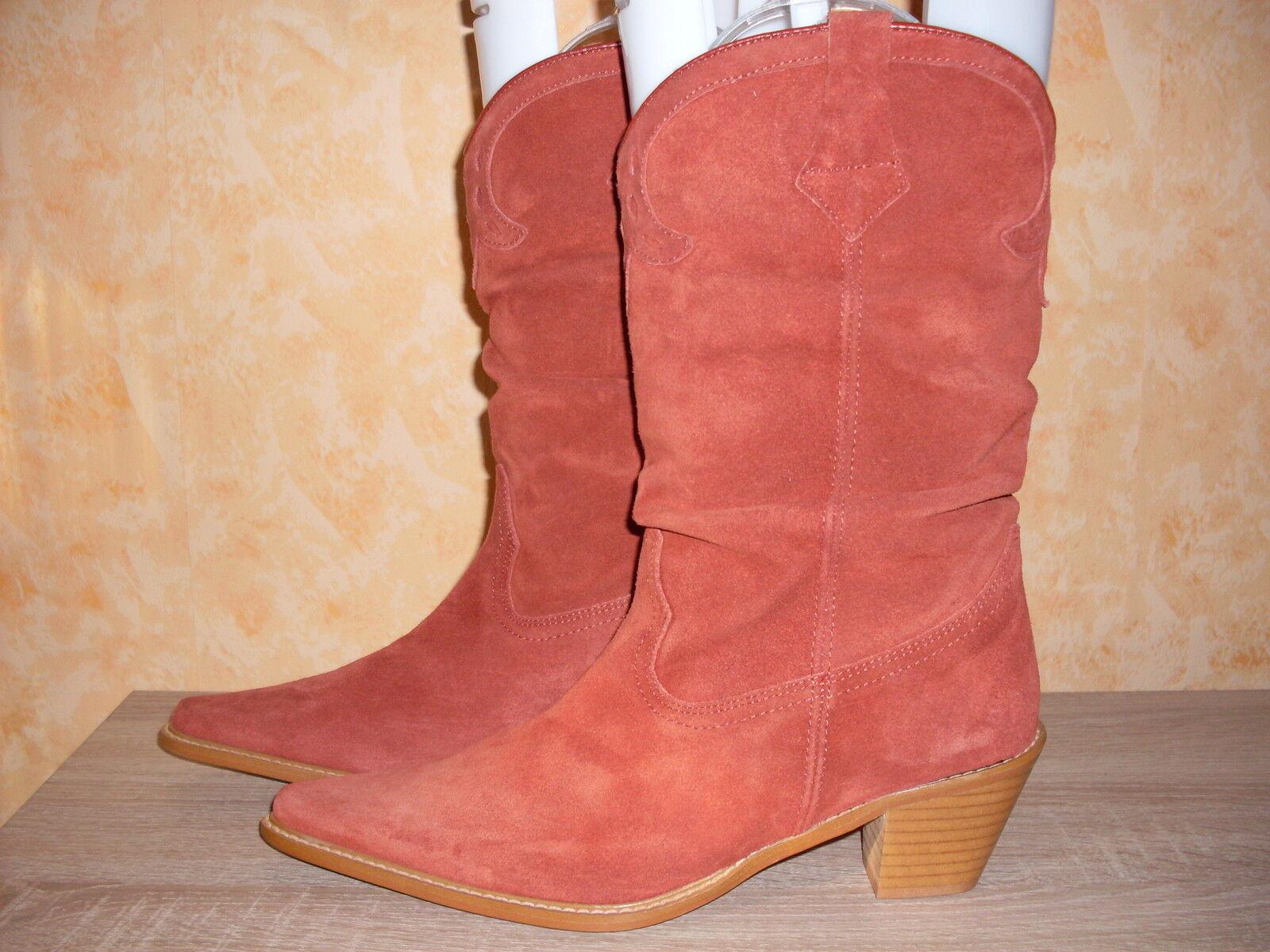 Western Boots Stiefel Cowboy Stiefel NEU Gr. Gr. Gr. 40,5 - 41 in rostred & Veloursleder 10efb6