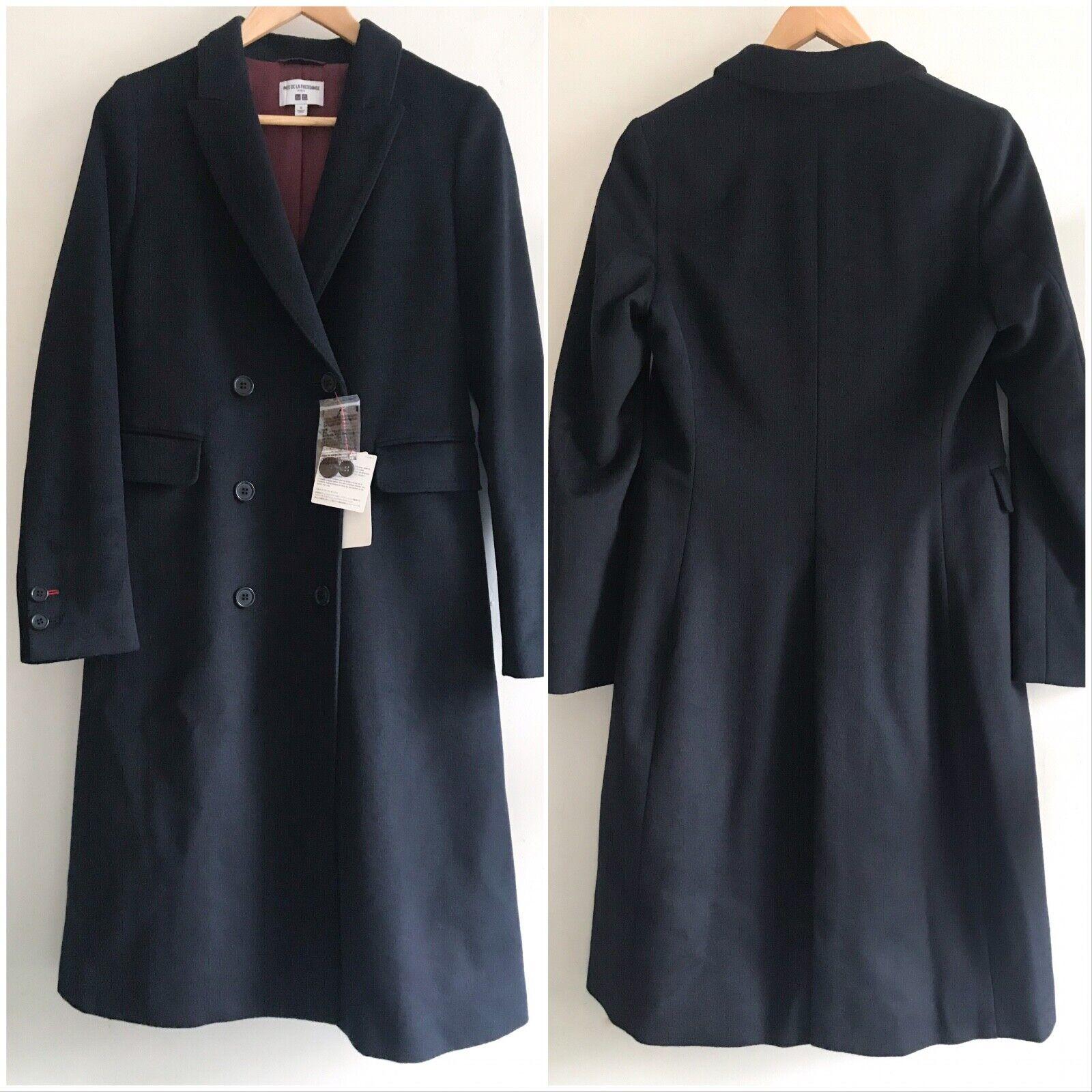 Uniqlo x Ines de la Fressange IDLF Wool-Blend Coat in Navy XS S L