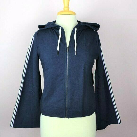 New Splendid Women's Hoodie Athleisure Full Zip Jacket Active Navy Bell Sleeve