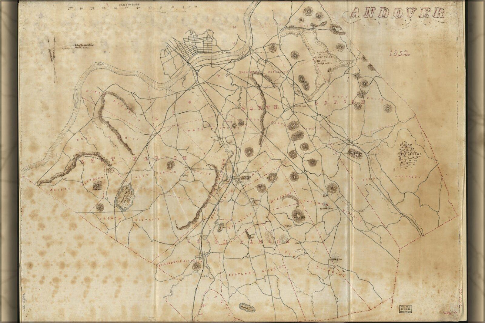 Plakat, Viele Größen; Karte von Andover Massachusetts 1852