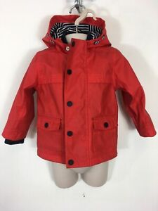 BOYS-BABY-M-amp-S-RED-POPPERS-ZIP-UP-HOODED-RAIN-MAC-COAT-POCKETS-AGE-12-18-MTHS