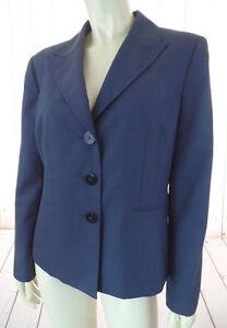 Kasper-Petite-Blazer-12P-Muted-Blue-Poly-Rayon-Blend-Lightweight-Button-Down-HOT