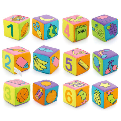 6pcs Multifunctional Baby Cloth Building Block Rattle Soft Cubes Toy Gift Set UK