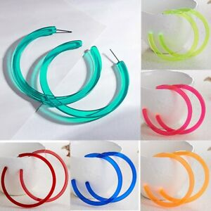 Women-Exaggeration-Acrylic-Big-Hoop-Dangle-Earrings-Resin-Round-Circle-Jewelry
