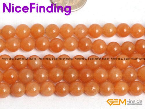 Mayorista Cuentas Piedra Natural Aventurina Redondo Naranja para la fabricación de joyería 6-10mm