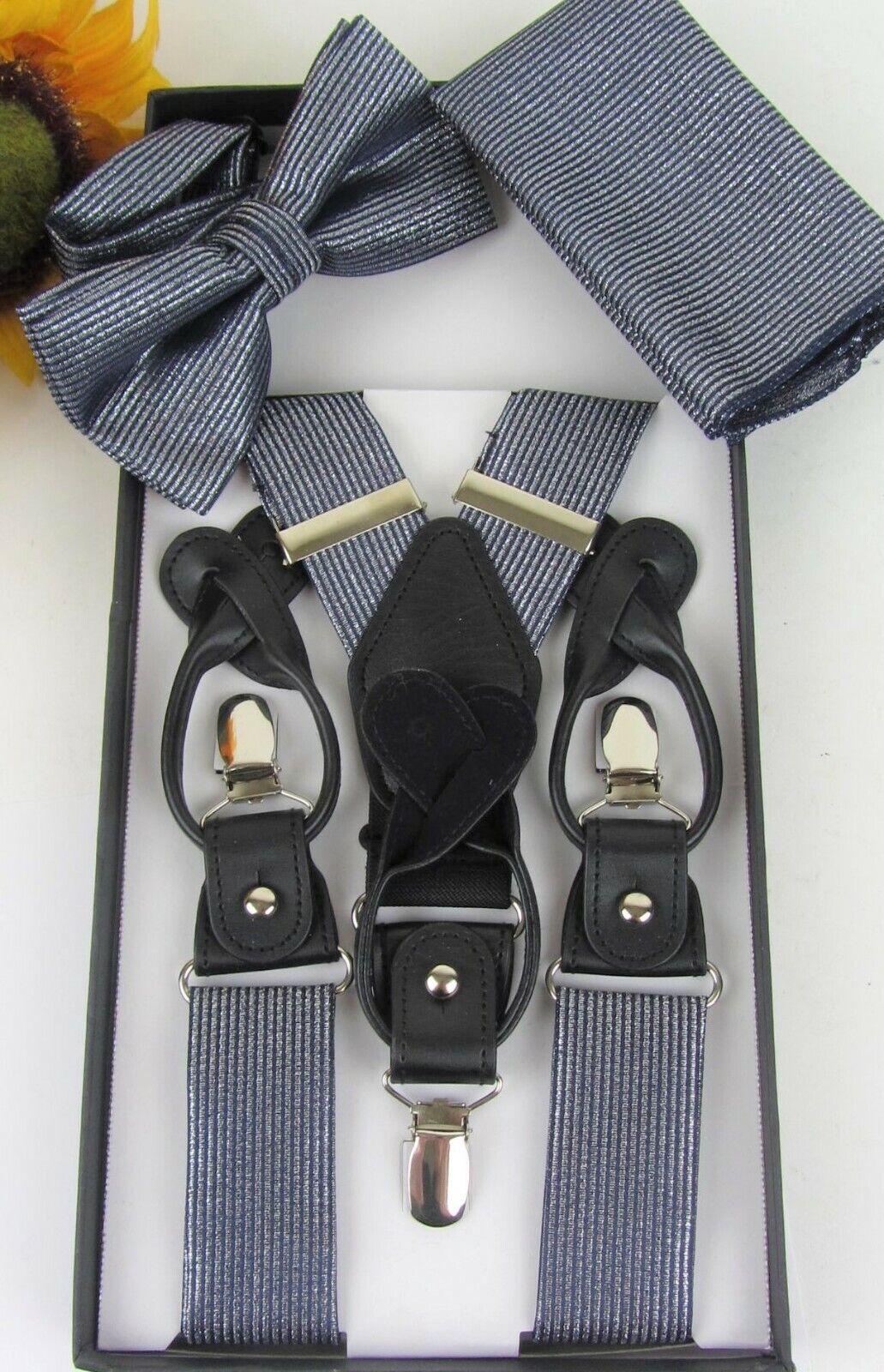 VITTORIO VICO Silver Metallic Suspenders & Bow Tie Set * Button or Clip *