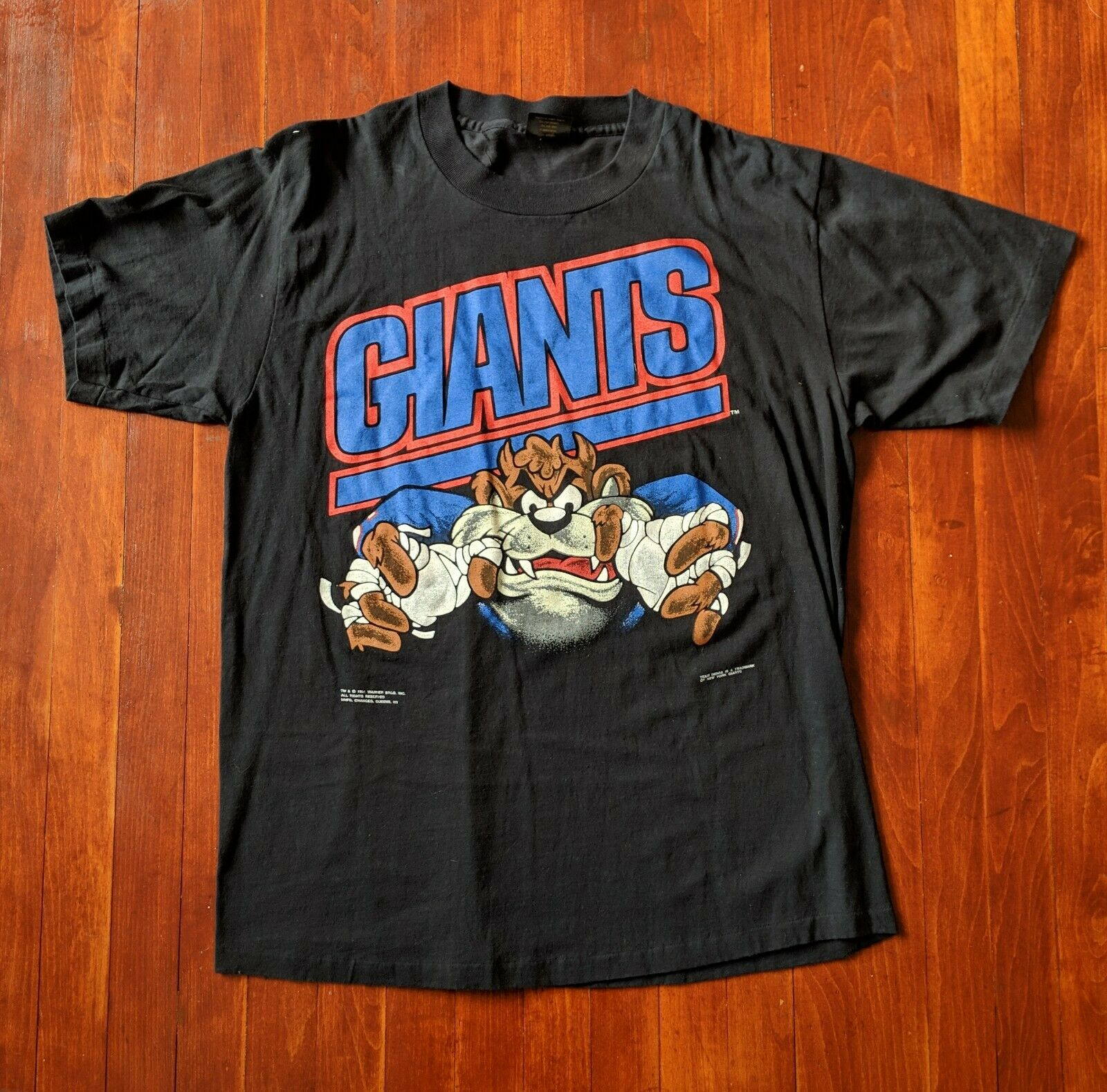 be26230d94f07f Taz Looney Tunes NY Giants 1991 Vintage T Shirt Größe XL, VTG NY Giants 1990