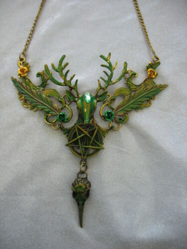 Bronze Stag Necklace Bird Skull Gothic Steampunk Green Pentacle Deer Celtic New