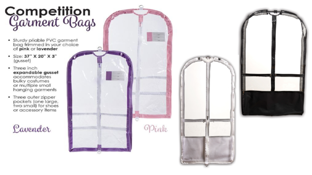 New Dance Garment Bag Clear Colored Sides Compeion Outer Pockets Expandable