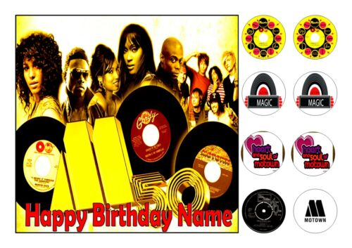 8 CUPCAKE TOPPERS MOTOWN MUSIC CAKE TOPPER SQUARE EDIBLE ICED ICING 7.5 ins