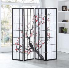 4 Panel Plum Blossom Room Divider Folding Privacy Shoji Screen