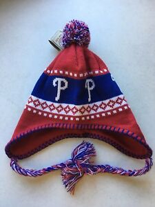 e30549d6c22 47 BRAND PHILADELPHIA PHILLIES MLB KNIT HAT WITH TIES FREE SHIPPING ...
