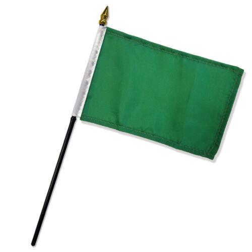 "Solid Green Plain Flag 4/""x6/"" Desk Set Table Stick Black Base"