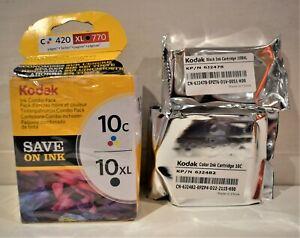 Kodak-Couleur-Et-Noir-amp-Blanc-Encre-Cartouche-10C-10XL-C-420-XL-770-Tout-en-Un