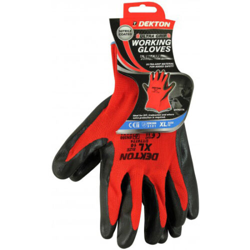 Pack of 5 XL Size RED//BLACK Dekton Nitrile Coated Protective Working Gloves DIY