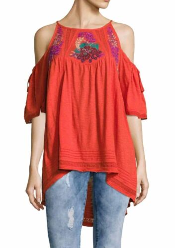 NEW Free People Fast Times Embroidered Cold Shoulder Top Red Size XS or L $128