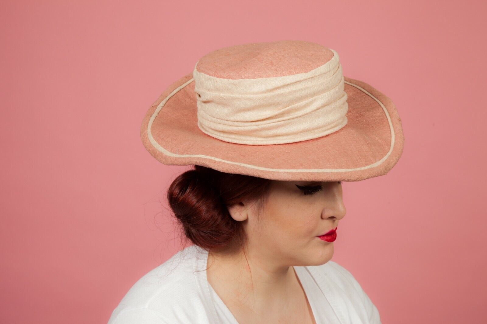 Ladies salmon pink and cream formal hat by Pamela Bromley