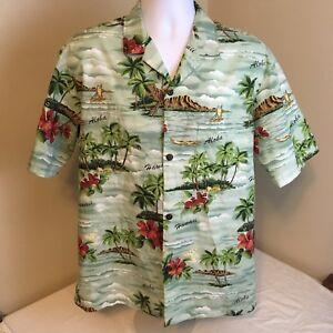 Royal-Creations-Hawaiian-Aloha-Camp-Shirt-Mens-Large-Palms-Waves-Free-Shipping