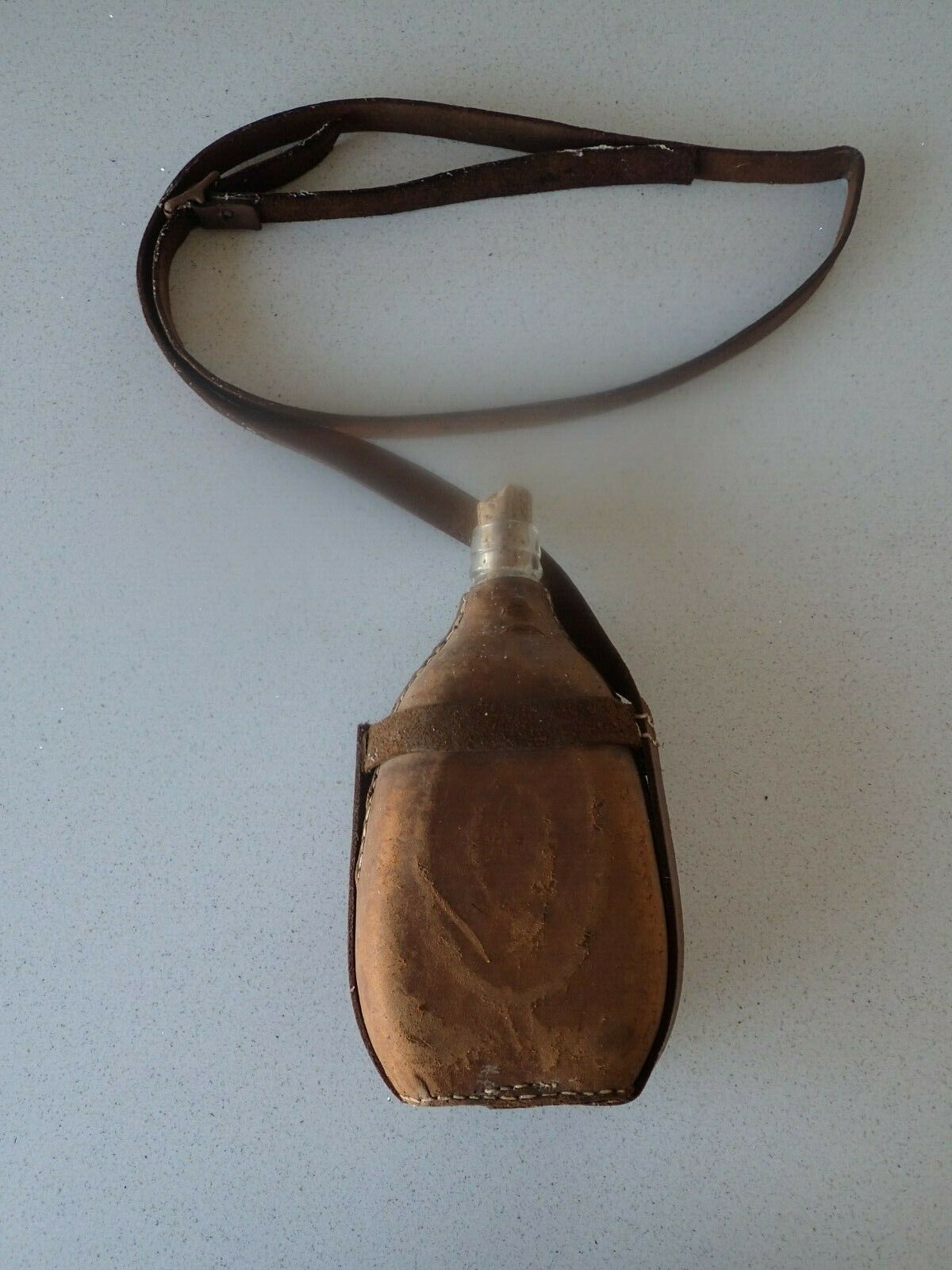 Military Style  Glass Canteen With Leather Cover, Cork And Strap  discounts and more