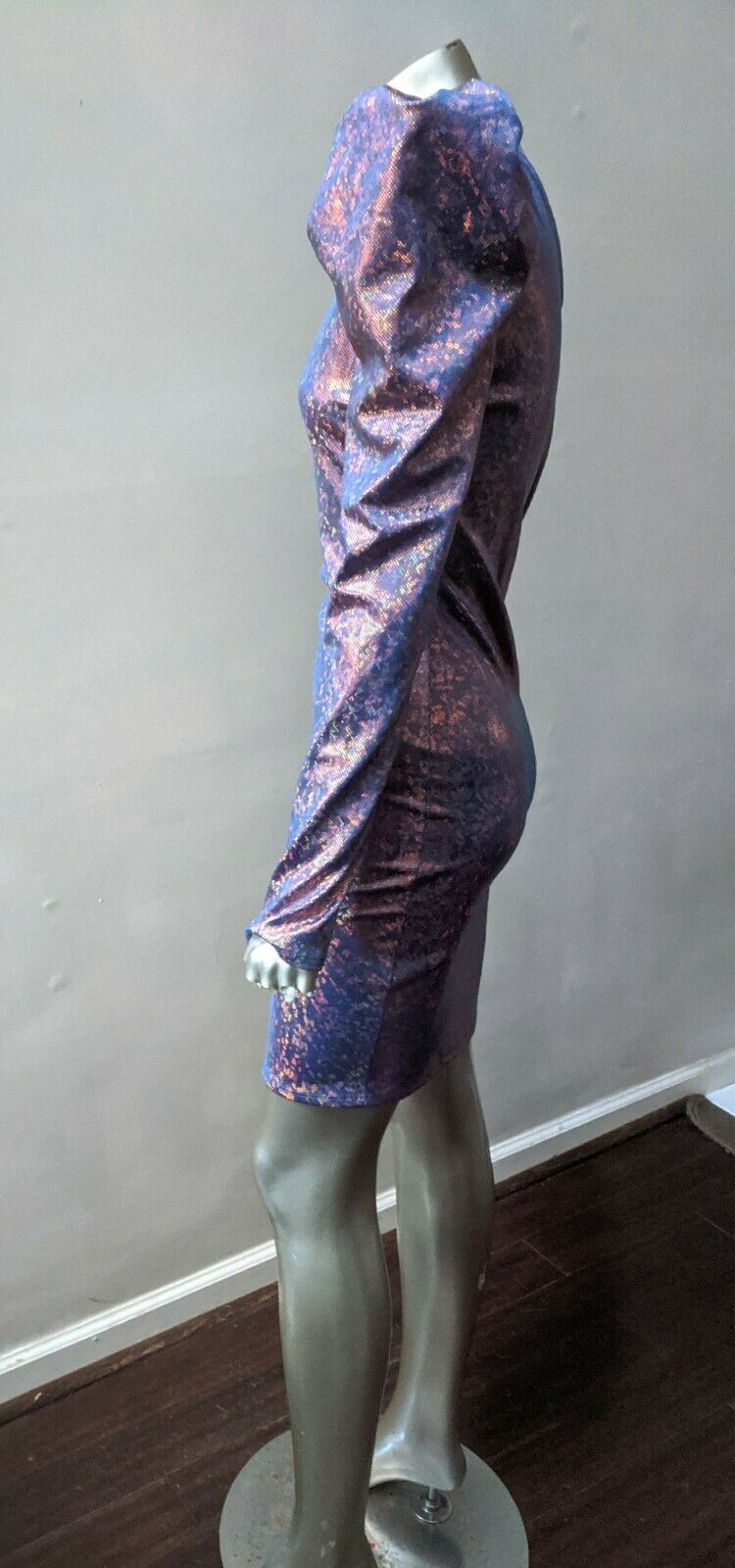ONE SHOULDER PUFFED SLEEVE IRRIDESCENT SPARKLING … - image 3