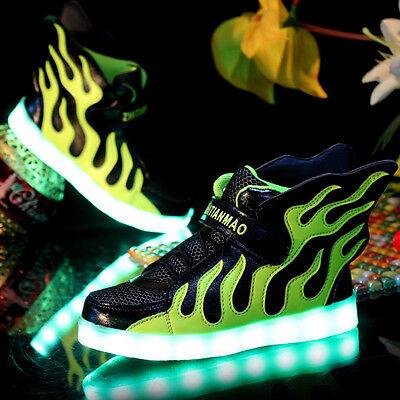 Kinder Jungen LED Farbwechsel Schuhe Sneaker Blinkschuhe Leuchtende Turnschuhe