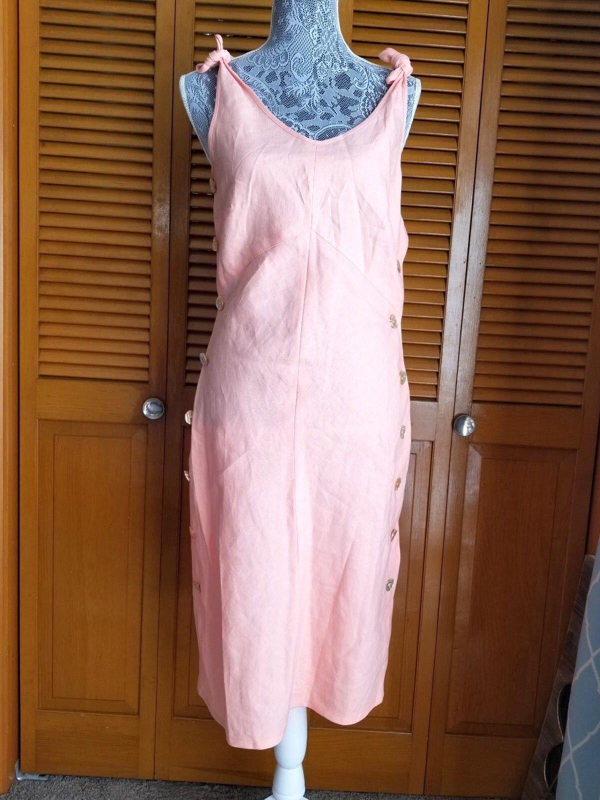 J Peterman Linen Dress Womens 4 Full Side Closure Shell Buttons Shoulder Tie NEW