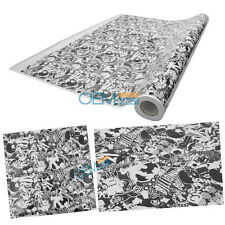 30X59 Inch JDM Cartoon Vinyl Wrap Sheet Decal Sticker Bomb Black White Gray
