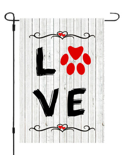 Love Dog Paw Print White Wash Fence Garden Banner Flag 12x17 Yard Decor MADE USA