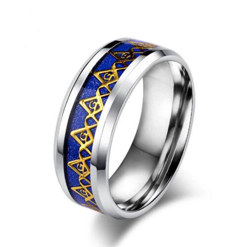 Titane Chaud Anneaux Unisexe Hommes Femmes Franc-Maçon MASON en acier inoxydable bleu or