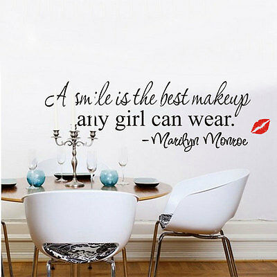 Hot Smile Makeup Marilyn Monroe Quote Wall Stickers Art Mural Home Decor Decal